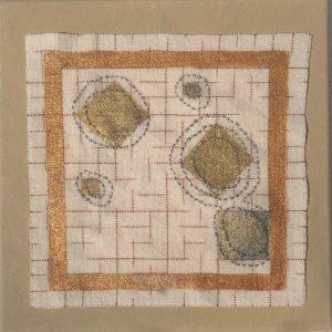 "Beth Ross Johnson, ""Crests Surfacing II,"" Cotton, handweaving. ikat, mica paints, stitching, 10"" x10"" x 1,"" 2019"