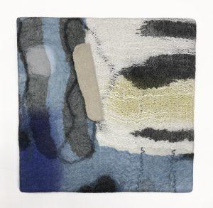 "Jorie Johnson, ""Sumi Series: Toronto Blue,"" Sumi Ink application on fabric, Feltmaking, 10"" x 10"" x 1,"" 2019, www.joirae.com"