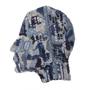 """Stewart Kelly, """"Head (Taken from '40 Heads' series),"""" Hand Embroidery on Indigo Dyed Cloth, 25 cm, 25 cm, 10 cm, 2018, website: stewartkellyartist.com"""