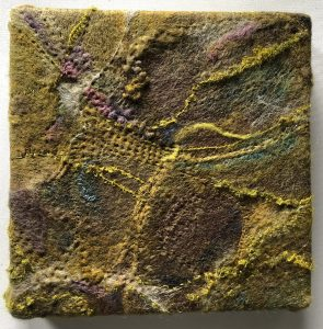 """Martha Liddle-Lameti, """"Mossy Shingle #1 ,"""" Felted wool, silk and mixed fibers, hand quilted and embroidered, """"10"""" x 10"""" x 3,"""" 2019, website: Martel-Designs.com"""