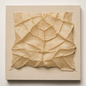 "Patricia Malarcher, ""Carapace,"" Fabric, thread, encaustic, 10"" x 10"" x 1,"" 2019"