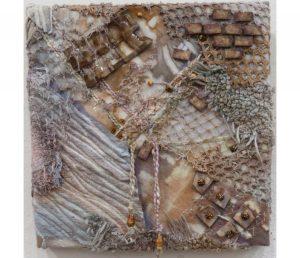 "Colleen Muscha, ""Chernobyl Exclusion Zone--Pripyat,"" Fiber Collage: Shirbori, Dye, Paint and Thermoplastic. 10"" x 10"" x 1.5,"" 2019, website: colleenmuscha.com"