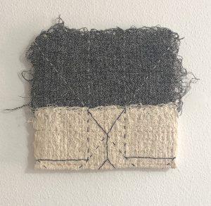 "Catherine Reinhart. ""Red Handed,"" Free-motion machine sewing, hand stitching, 10"" x 10"" x 0,"" 2019. website: www.catherinereinhart.com"