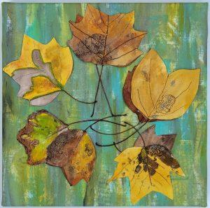 "Holly Smith, ""Tulipfera Reel,"" Mixed Media: cotton, screen print ink, tulipfera leaves, 10"" x 10"" x 1.25,"" 2019"