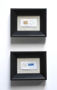"""Jenny Stopher, """"Mini Mendings Diptych: Series No. 1,"""" Embroidery stablizer, embroidery floss, cotton fabric, 1"""" x 2.125"""" x 0,"""" 2019"""