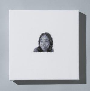 "Ruth Tabancay, ""8-bit Ruth,"" Hand embroidery, 10"" x 10"" x 1.5,"" 2019, website: www.ruthtabancay.com"
