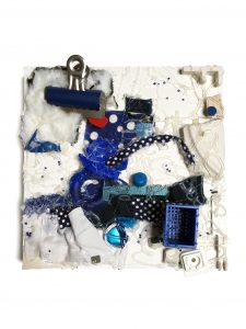 "Myrna Tatar, ""A Little On the Nose,"" Fabric, Plastic, Metal, Paper, Beads, Polyamide, 10"" x 10"" x 3.5,"" 2019, website: www.myrnatatar.com"