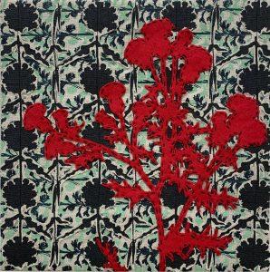 """Julie Tourtillotte, """"Refuge,"""" Screen printed pigment on linen, felt, cutwork, stitching 10"""" x 10"""" x 1.5,"""" 2019"""