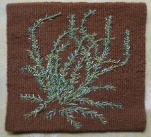 """Kennita Tully, """"Ode to Ancient Plants,"""" Tapestry, wool weft, cotton warp, 8"""" x 8.5"""" x .1875,"""" 2019, website: kennitatully.com"""