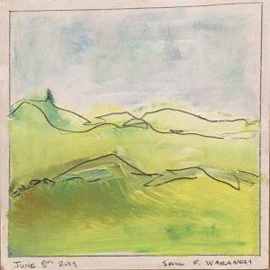 "Saul Waranch, ""Northwest Landscape - 1,"" Oil on prepared wood with pencil, 8"" x 8"" x 1,"" 2019"